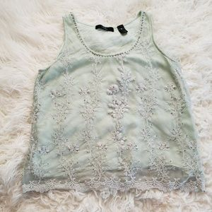 Tops - Seafoam Green Embroidered Top